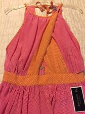 NWT JUICY COUTURE SZ8 DRESS IN ORANGE/PINK PRINT ORIGINAL RETAIL $298