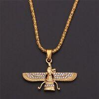 Men Wing Necklace Gold Stainless Steel Ahura Mazda Zoroastrian Farvahar Pendant