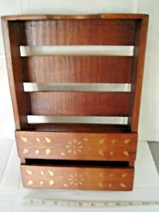 Hardwood letter rack with inlay