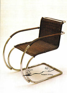 Kunst- Doppelkarte  - Bauhaus Dessau - Mies van der Rohe - Lehnstuhl