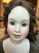 Unsigned Doll Mold -Porcelain-Hand Painted-Glass Eyes-Curly Wig