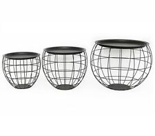 Set of 3 Black Wire Iron Top Storage Basket Round End Side Tables Home Furniture