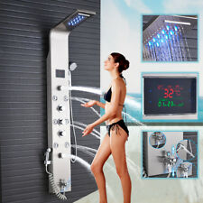 Shower Panel Tower System Column LED Rain Waterfall Shower Head Lower Tub Faucet