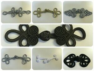 Frog Fasteners Button Knots Metallic Black & White