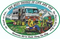 MOTORHOME CAMPER VAN CARAVAN / STICKERS /DECAL / GRAPHIC / LIVING THE DREAM/ H