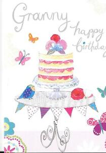 BIRTHDAY CARD FOR GRANNY - CAKE ON A CAKE STAND - BLANK INSIDE