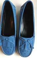 Loafers Shoes Blue Fringe Leather Beacon Reflections Scottie Size 6M Soft Bow