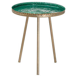 Aztec Brass Embossed Ceramic Dipped Side Table