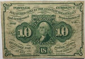 1862 US 10 Cent Fractional Currency Postage George Washington 10c