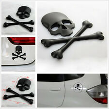 3D Black Metal Skull Head Skeleton Cross Bone Logo Emblem Decal For SUV Off-Road