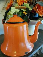 VTG Tea Pot Kettle Enamel Ware Decor Retro Orange MCM Rattan Wrap Handle Japan