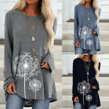 Womens Floral Long Sleeve Baggy Tunic Tops Ladies Casual Loose Jumper Pullover