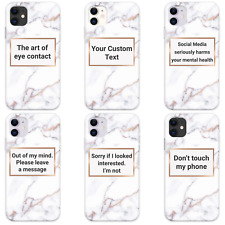 PERSONALISED PHONE CASE MARBLE CUSTOM TEXT SILICONE COVER FOR IPHONE 11 12 XR 8