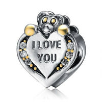 NEW Genuine 925 Sterling SIlver SS Love Teddy Bear Heart 14k Charm LH533