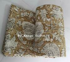 Indian Kantha Work Quilt Reversible 100%Cotton Indian Floral Throw Double Ralli