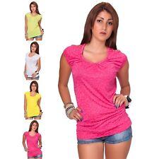 Sexy Damen Nieten T-Shirt Longtop Sweatshirt Sommer Top Kurzarm shirt tshirt NEu