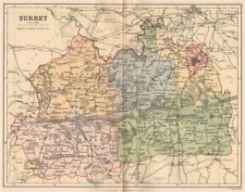 SURREY. Antique county map 1893 old vintage plan chart