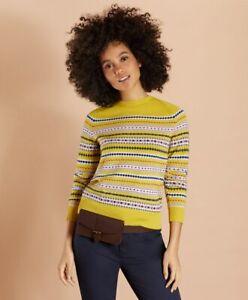 BROOKS BROTHERS Sweater S FAIR ISLE Red Fleece Yellow Multi Merino Wool NWT