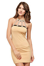 Halter neckline square Cut Back Apricot Mini Dress Redial