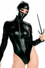 Halloween Cosplay Women Sex Blk Goth Punk Leather Zipper Catsuit Romper Clubwear