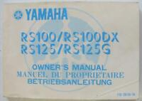 YAMAHA RS100/ RS100DX/ RS125/ RS125G 1980 Motorcycle Owners Handbook