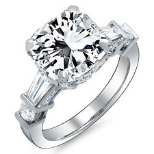 1.81 Ct. Radiant Cut, Baguette & Round Diamond Engagement Ring G,VS1 GIA 14K