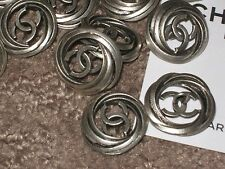 CHANEL AUTH 5 CC LOGO FRONT SILVER  BUTTONS  20 MM  NEW LOT 5