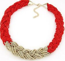 Red Colored Braided Seed Beaded Choker Necklace 20 inches
