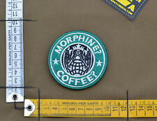 "Ricamata / Embroidered Patch PJ ""Morphine? Coffee?"" with VELCRO® brand hook"