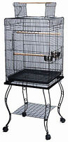 "Large 20 Inch Parrot Bird Cage Top Play With Stand Wheel 20x20x57""H BLK 524"