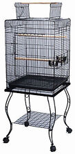 "Large 57 Inch Parrot Bird Cage Top Play With Stand Wheel 20x20x57""H BLK 524"