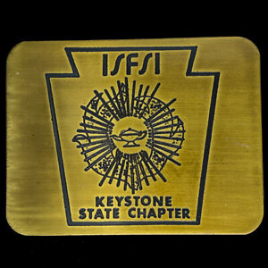 FSFSI KCFSI Fire Instructor PA Pennsylvania Brass 1980s NOS Vintage Belt Buckle