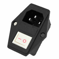 Plastic White SPST Rocker Switch AC 250V 15A IEC320 C14 3 Pin Power Socket