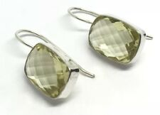 Lemon quartz solid Sterling Silver drop earrings, cushion, multifaceted, chequer