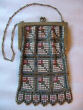 Antique Art Deco Gold T Frame Geometric Pink Red Blue Enamel Chain Mail Purse