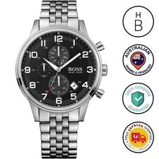 New Hugo Boss Mens Aeroliner Watch Silver Tone Steel Black Dial Chrono 1512446