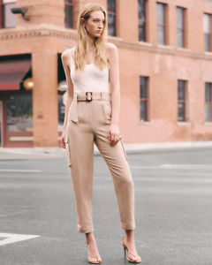 NWT EXPRESS belted linen crop pants jumpsuit xs tan white