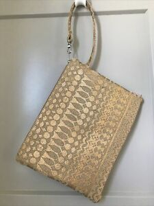 Burlap ECHO Bag Large Wristlet boho gold stamped pattern make-up travel