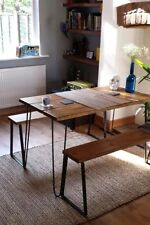 Vintage Small Table and Benches  With Hairpin Legs And Reclaimed Timber. Retro