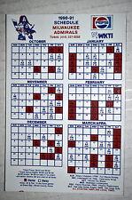 1990-1991 Milwaukee Admirals Ihl Hockey Magnet Schedule Sked Pepsi Wkti