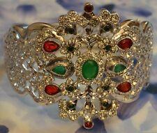 Gros Bracelet Jonc Esclave Rhodié Pavé Emeraude Rubis Diamant Signé SL
