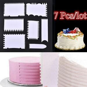 7Pcs / Set Plastic Cake Scraper Kuchen Kanten Dekorationswerkzeug Neu