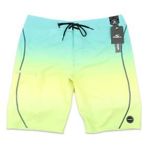"O'Neill Mens 20"" Hyperfreak S-Seam Fade Boardshorts Lime 32 New"