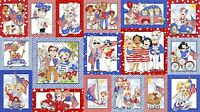 "American Voters USA Patriotic Election Cotton Fabric Panel Loralie 23"" x 44"""