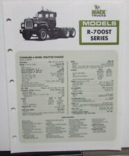 1978 Mack Trucks Model R 700ST Diagrams Dimensions Sales Brochure Original