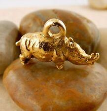 22k gold plated 3D Rhino, Rhinoceros charm