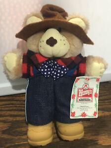 WENDY'S BOONE FURSKIN BEAR 1986 Vintage Original Appalachian Artwork Advertising