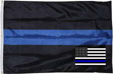 Wholesale Combo 3x5 Police Thin Blue Line Flag & USA Memorial Decal Sticker
