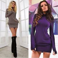 Sexy Women Cotton Long Sleeve Bodycon Dress Evening Party Clubwear Mini Dresses