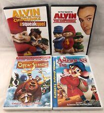 4 Children's Movies Used DVD American Tails Open Season Alvin Chipmunks